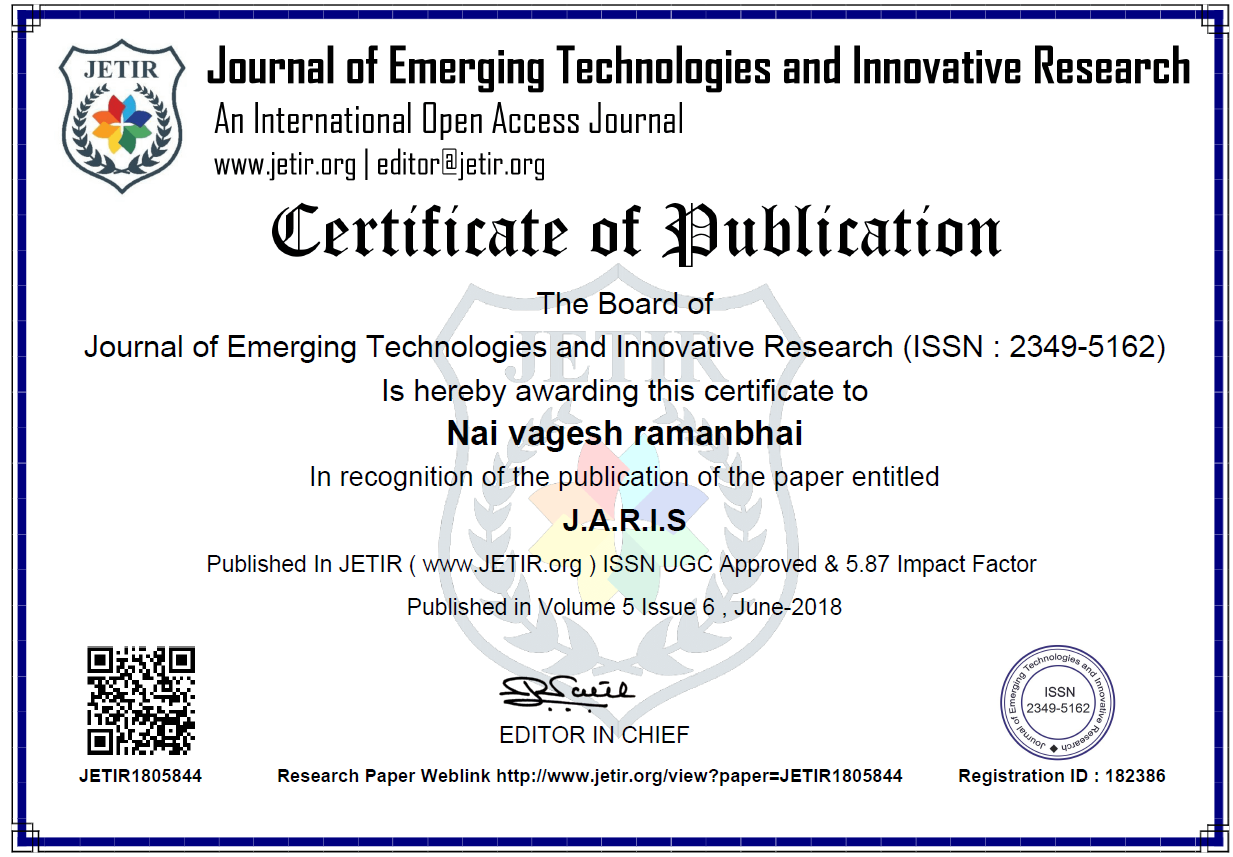 Staff Achievements Research Paper Published By Lect. Vagesh Nai
